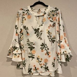 Charming Charlie's floral blouse flutter sleeves